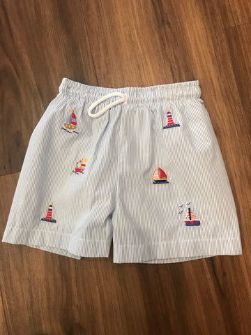 Sailboat Embroidered Swim Trunks Zuccini