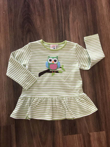 Owl L/S Ruffle Bottom Top Luigi Kids