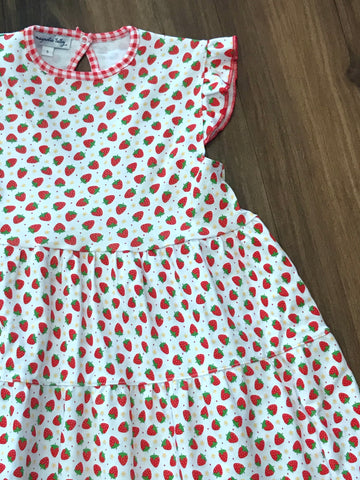 Fresh Strawberries Printed Flutters Dress Magnolia Baby
