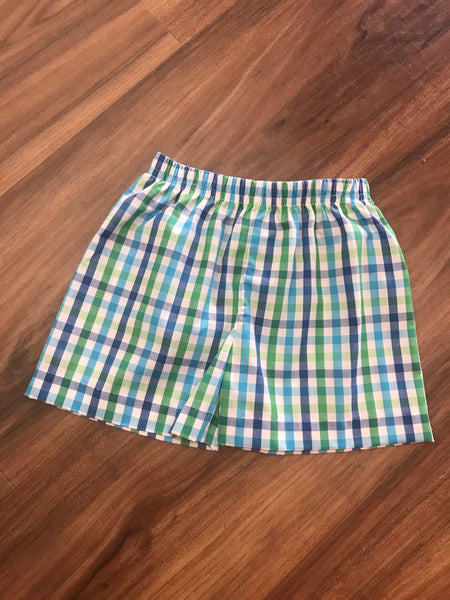 White, Green & Turq Plaid Shorts Zuccini
