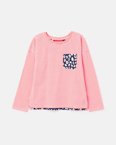 Bliss Bright Pink Stripe L/S Tee by Joules