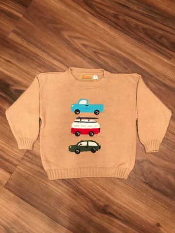Three Stacked Vehicles Toddler Sweater Claver Sweaters