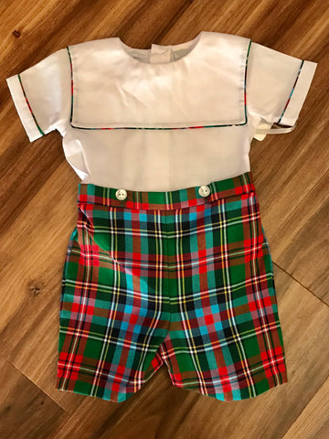 Plaid Button on Short Carriage Boutique
