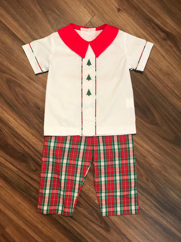 Tree Embroidered Plaid Pant Set Zuccini