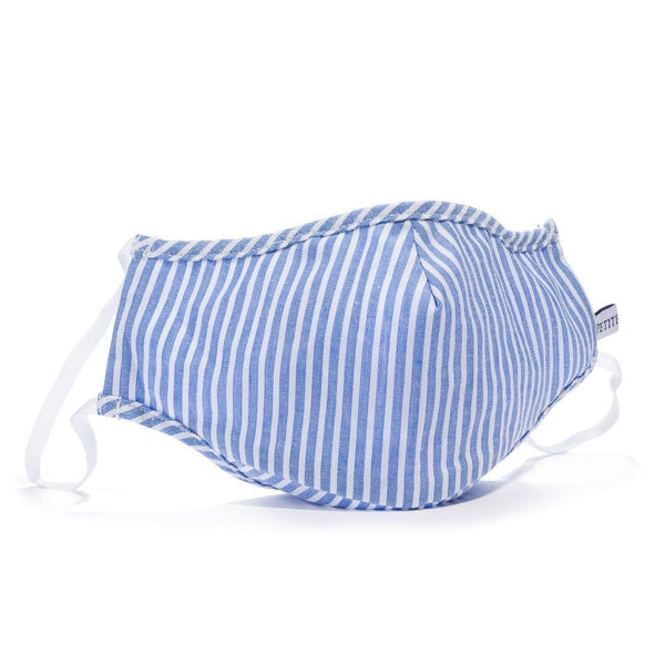 French Blue Seersucker Face Mask Petite Plume
