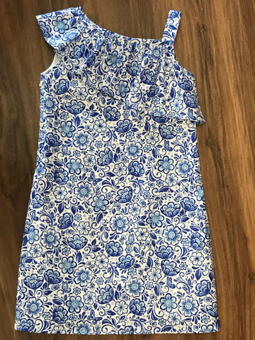 Blue Floral One Shoulder Ruffle Dress Funtasia Too