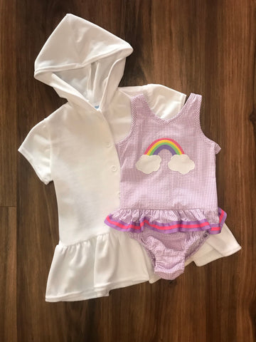 Rainbow Ruffle Seersucker Swimsuit Funtasia Too