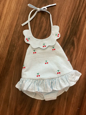 Cherry Scallop Swimsuit Little English