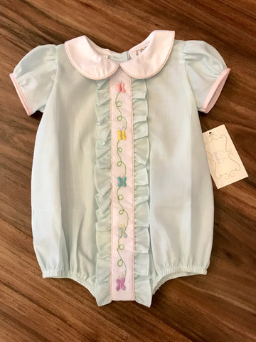 Butterfly Embroidered Ruffle Bubble Lulu Bebe