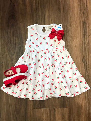 Cherry Print Tiered Dress Luigi Kids