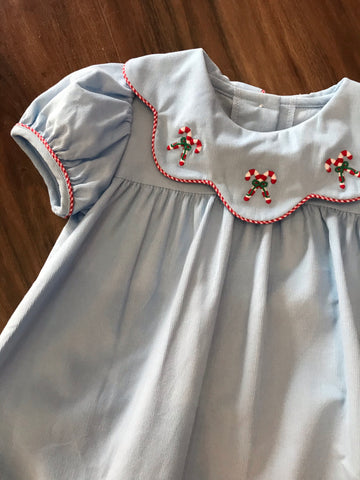 Candy Cane Embroidered Cord Dress Zuccini