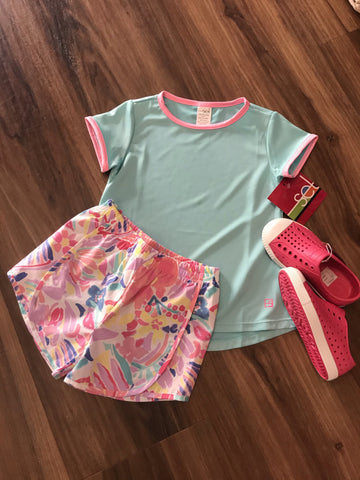 Elise Watercolor Athletic Shorts Set Athleisure