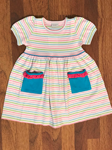 Popover Stripe S/S Dress w/Pockets Squiggles
