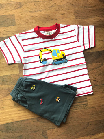Backhoe Applique S/S Tee Luigi Kids