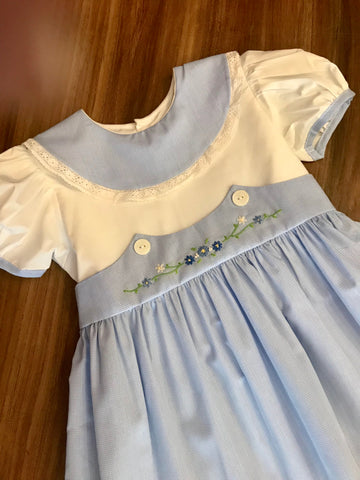 Round Collar Dres w/Flower Emb Lullaby Set