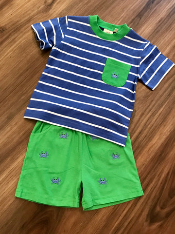Crab Emb. Shorts Set Luigi Kids