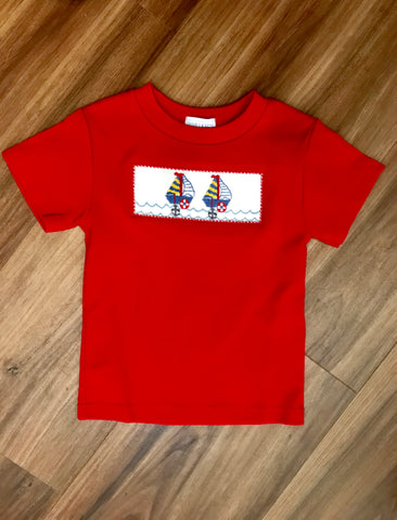 Sailboat Smocked SS Tee Vive La Fete