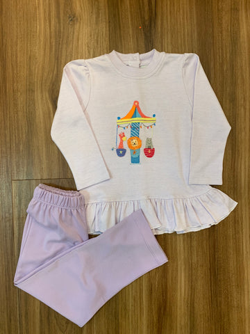 Carousel Friends Ruffle Pants Set by Squiggles