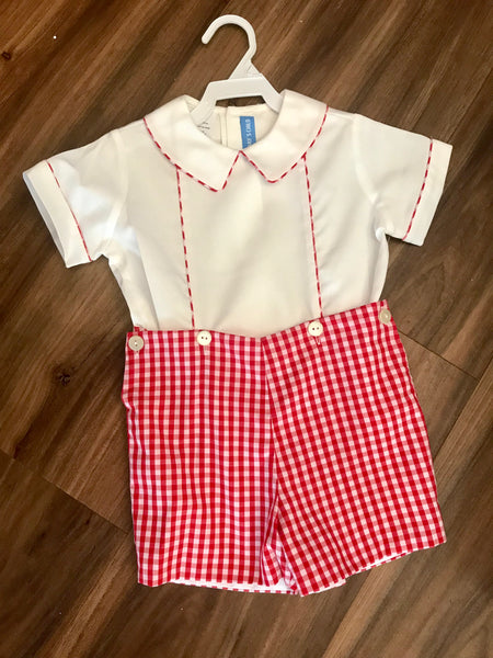 Red Check Shorts Set Monday's Child