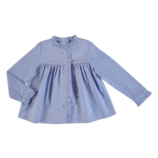 Blue Ruffled Shirt Mayoral