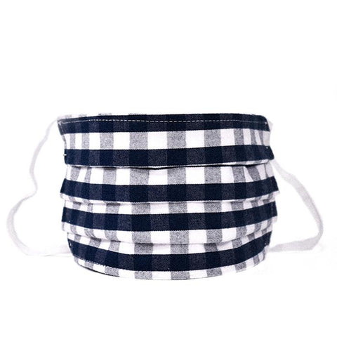 Navy Gingham  Pleated Child Face Mask Petite Plume