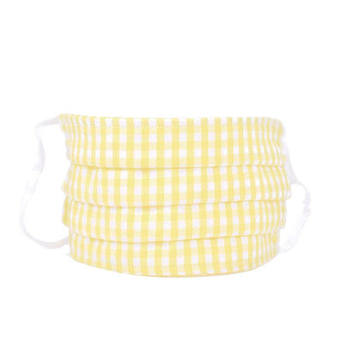 Yellow Gingham  Pleated Child Face Mask Petite Plume