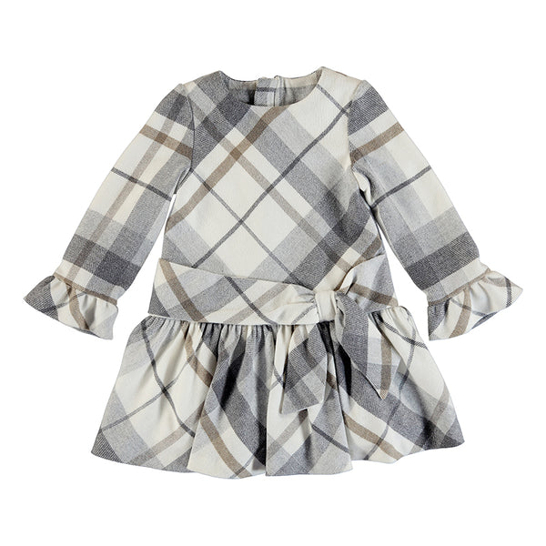 Gray Plaid Lurex Dress Mayoral