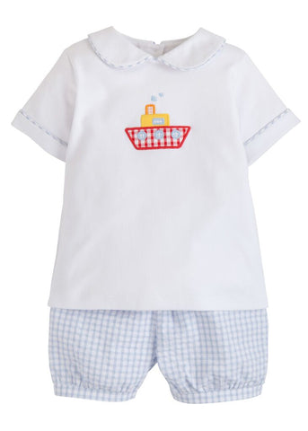 Tugboat Applique Peter Pan Short Set Little English