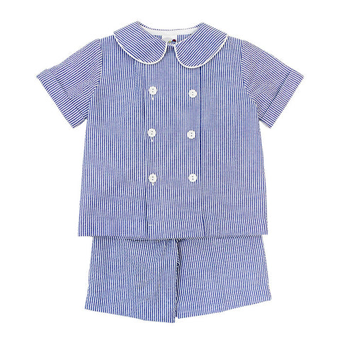 Navy Seersucker Dressy Shorts Set Toddler Bailey Boys