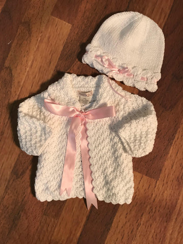 White Sweater w Ribbon 2h Handknits