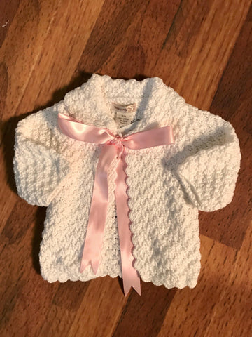 White Sweater with Ribbon Month Sizes 2h Handknits