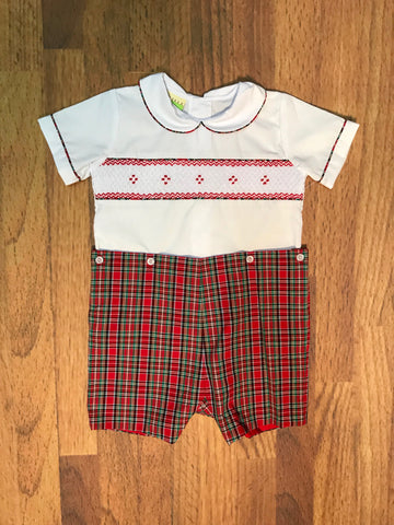 Smocked Plaid Button On Short Le Za Me
