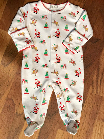 Santa's Helper Print Footie Kissy Kissy