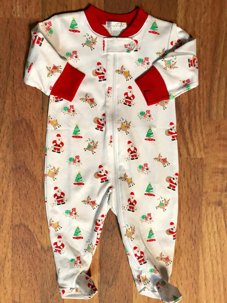 Santa's Helper Print Zip Footie Kissy Kissy