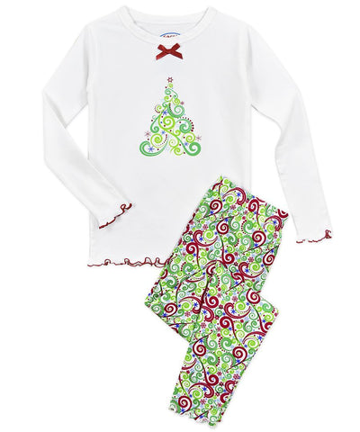 Swirly Tree 2pc Long Pjs Sara's Prints
