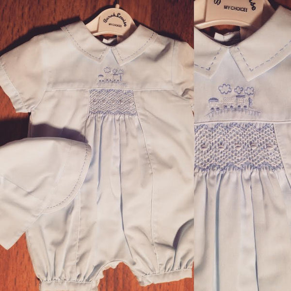 Train Romper w Hat Sarah Louise