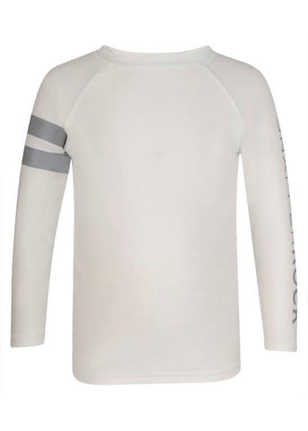 White with Gray Long Sleeve Rash Top SnapperRock