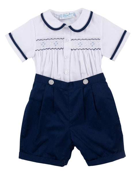 White & Navy Button On Short Feltman Brothers 97420