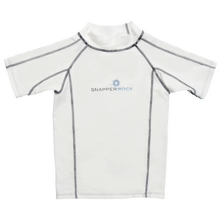 White and Navy Short Sleeve Rash Guard SnapperRock