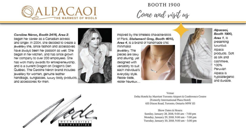 Alpacaoi is a proud exhibitor at the Mode Accesories Show 2018 in Toronto.