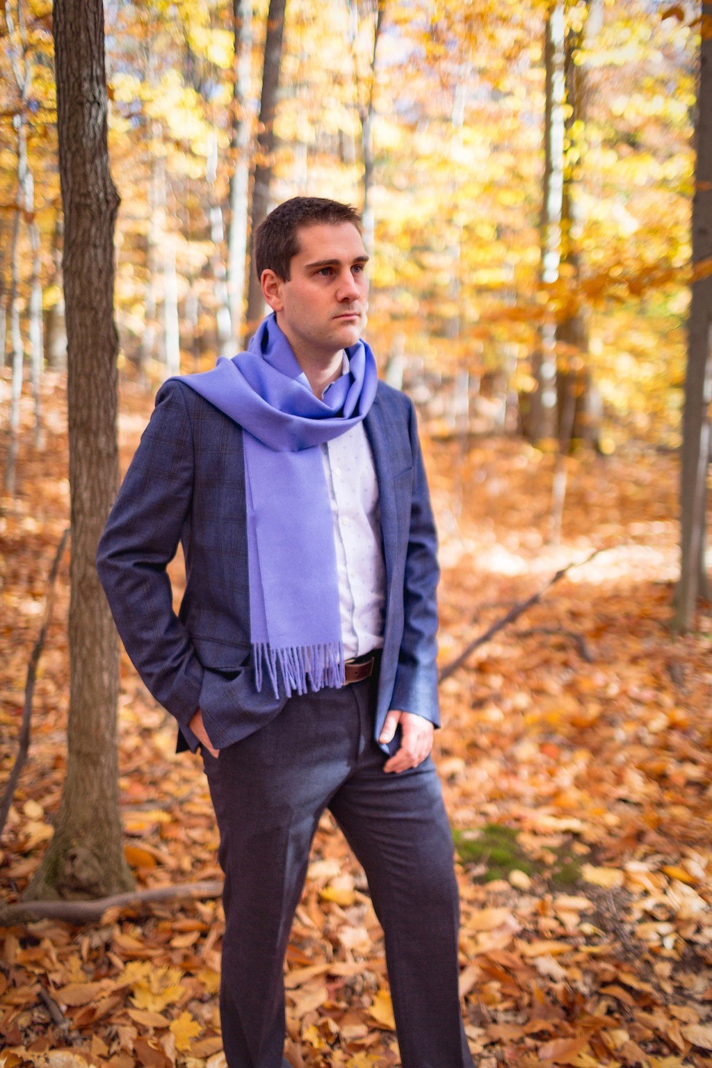 Man with an Alpaca scarf light blue/ mauve made of 100% Peruvian alpaca wool