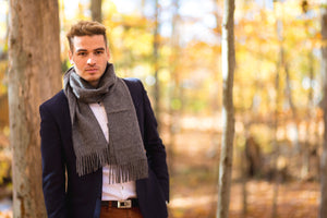Young men wearing Alpaca grey scarf made of 100% Peruvian baby alpaca wool