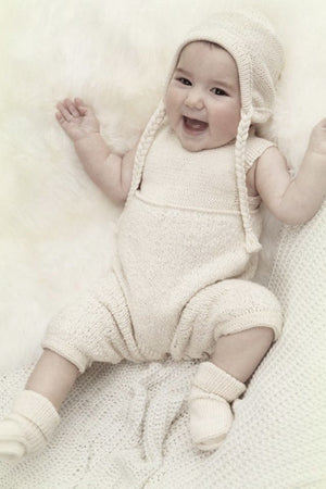 Baby with an ALPACA BABY OVERALL and hat  BEIGE handmade of 100% Peruvian alpaca wool
