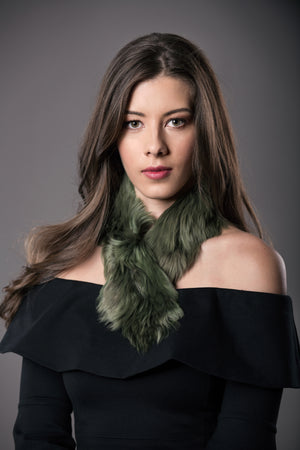 Alpaca fur short scarf  / Green