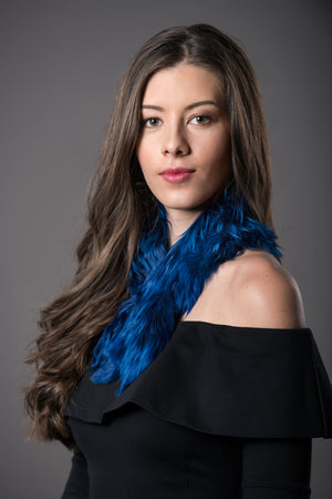 Alpaca fur short scarf  / Royal Blue