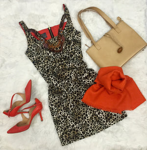 Fashion outfit that includes shoes, handbag, a leopard dress and an alpaca orange red shawl handmade of 100% alpaca wool