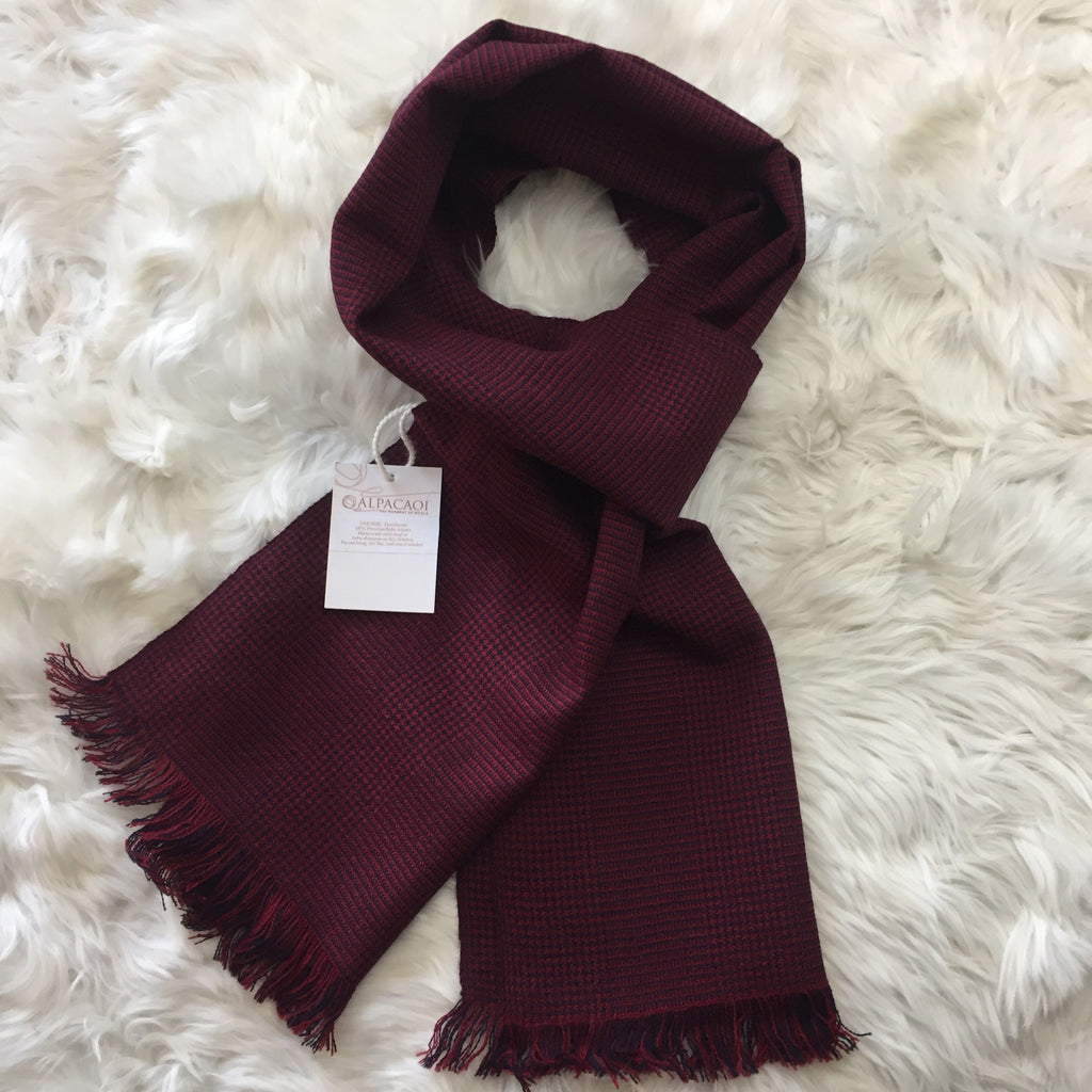 Burgundy with little squares of navy scarf handmade of 100% Peruvian alpaca wool