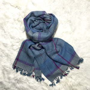 ALPACA SCARF BLUE WITH PINK LINES made of 100% Peruvian alpaca wool