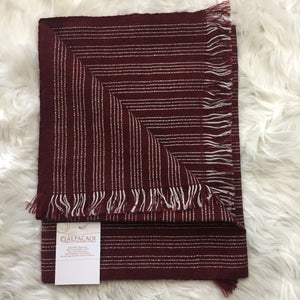 Burgundy and little lines of white scarf handmade of 100% Peruvian alpaca wool