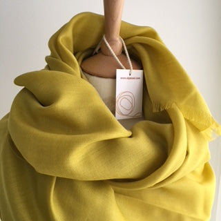 New accessories, Alpaca / Silk Shawl -  mustard ALPSH01